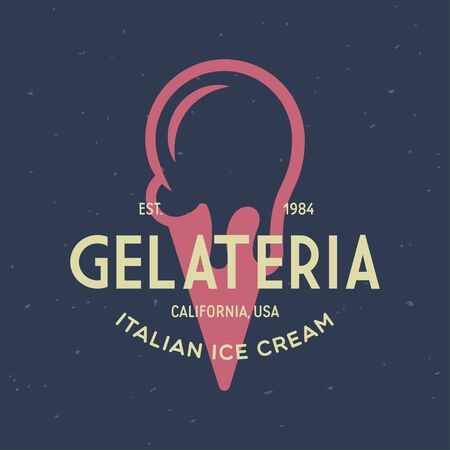Vintage ice cream shop  badge and label, gelateria sign. Retro logotype for cafeteria or bar. Isolated vector illustration.