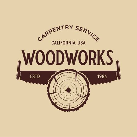 Woodwork badge for carpentry, woodworkers, lumberjack, sawmill service monochrome Illustration