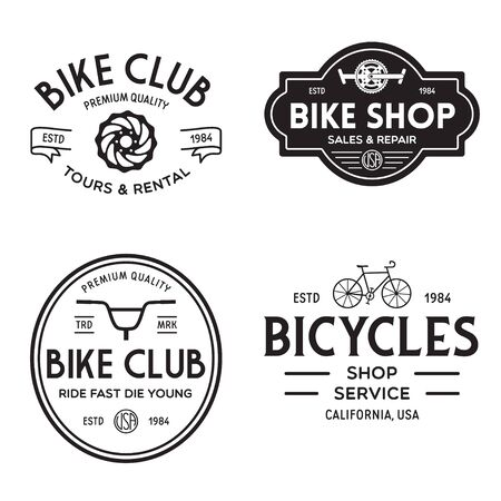 Set of vintage and modern bike shop badges and labels. Cycle wheel isolated vector. Old style bicycle shop and repair logotypes. Vector illustration.