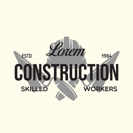 Vintage construction and bricklaying label. Poster, stamp, banner and design elements. Vector illustration Иллюстрация