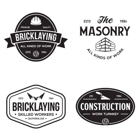 Set of vintage construction and bricklaying labels. Posters, stamps, banners and design elements. Vector illustration Иллюстрация