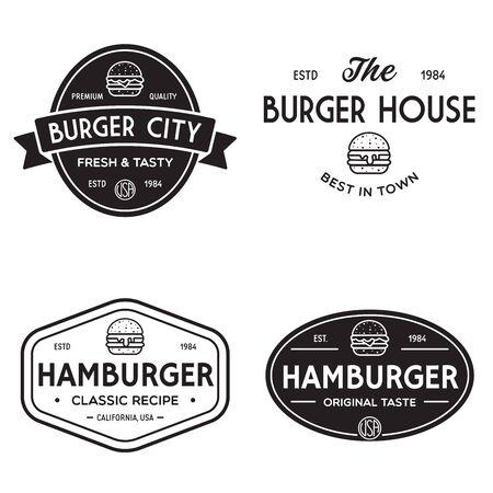 Set of badges, banner, labels  for hamburger, burger shop. Simple and minimal design. Illustration