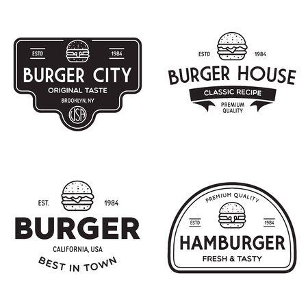 Set of badges, banner, labels  for hamburger, burger shop. Simple and minimal design. Ilustracja