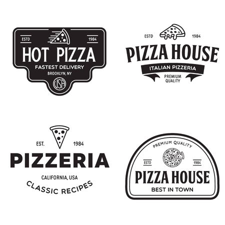 Set of pizza badges, banners, emblems for fast food restaurant. Collection labels for menu design restaurant or pizzeria. Isolated vector illustration. Vetores