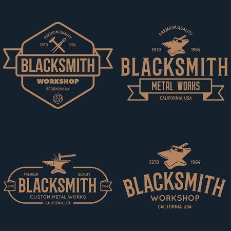 Blacksmith labels set. Design elements for metalworks service emblems, badges . Monochrome seal collection. Vector vintage illustration.