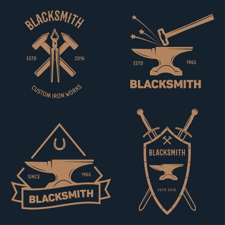 Blacksmith labels set. Design elements for metalworks service emblems, badges . Monochrome seal collection. Vector vintage illustration.
