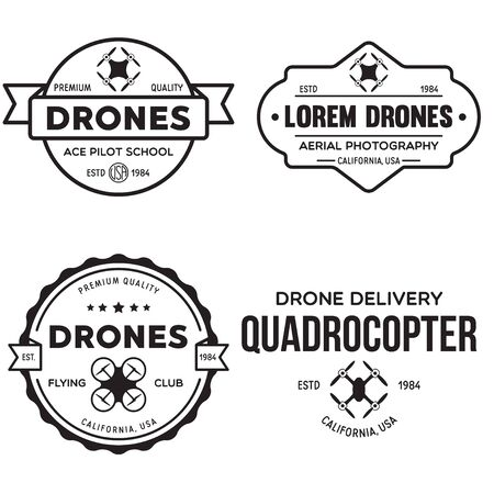 Set of drone   badges, emblems and design elements. Quadrocopter flying club, delivery logotypes. Vintage vector illustration. Stock Illustratie