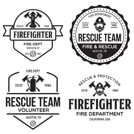 Vintage set of firefighter volunteer, rescue team emblems, labels, badges in monochrome style.
