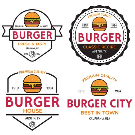 Set of badges, banner, labels for hamburger, burger shop. Simple and minimal design. Isolated vector illustration.
