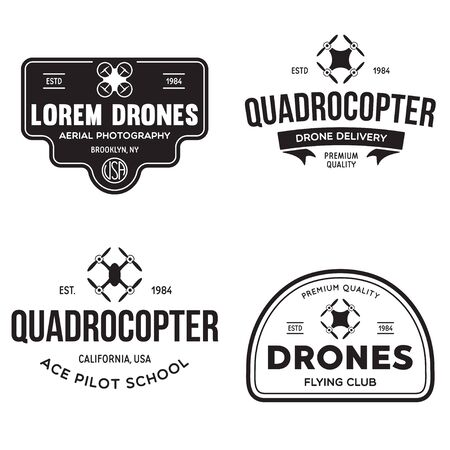 Set of drone  badges, emblems and design elements. Quadcopter flying club, delivery logotypes. Vintage vector illustration.