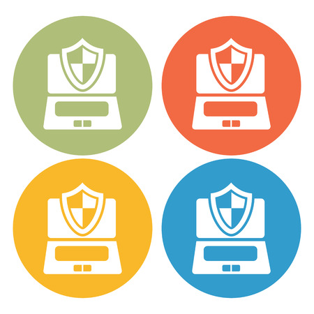 protection icon: Computer under protection icon