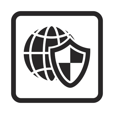 computer net: Computer net under protection icon