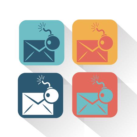 correspondence: Hackear correspondencia icono Vectores