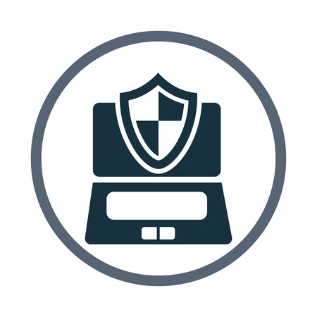protection devices: Computer under protection icon