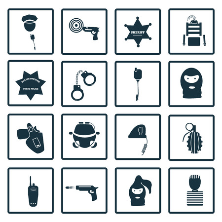 sixteen: Set of sixteen justice icons Illustration