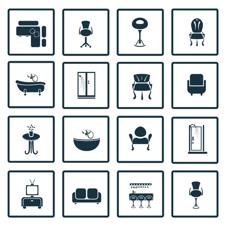 interiors: Set of sixteen interiors icons