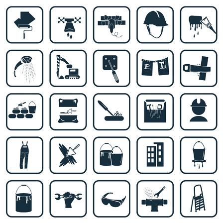 construction material: Set of twenty five construction icons Illustration