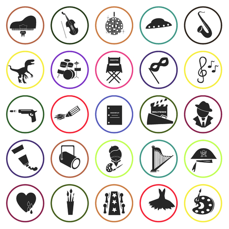 party poppers: Set of twenty five art icons Illustration