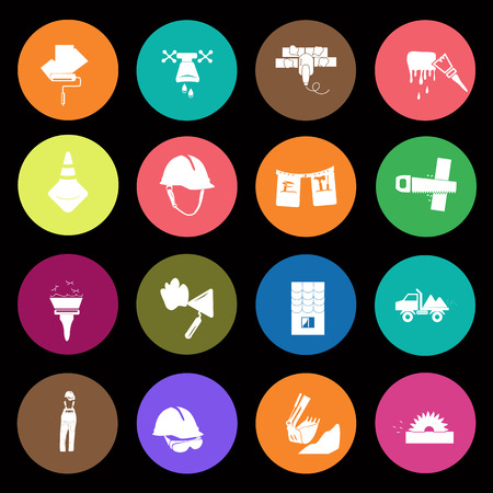 dieci: Set of sixteen construction icons Vectores