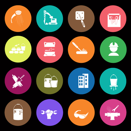 brick and mortar: Set of sixteen construction icons Illustration