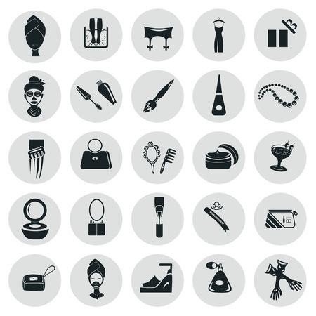 Set of twenty five beauty and fasion icons Illustration