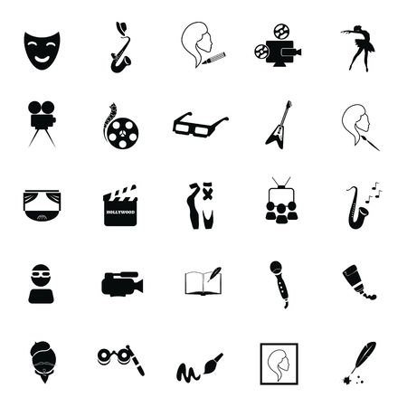 twenty five: Set of twenty five art icons Illustration