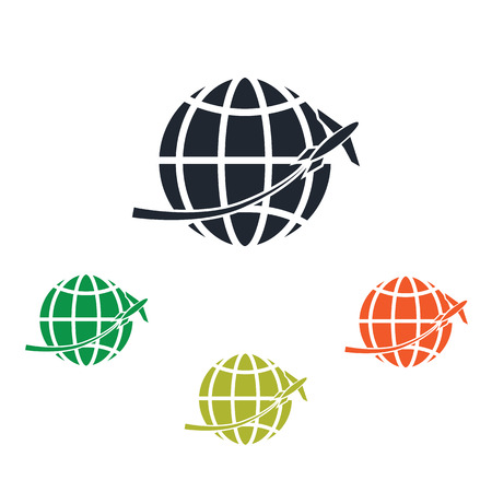 overseas: Airplane cross the Earth icon