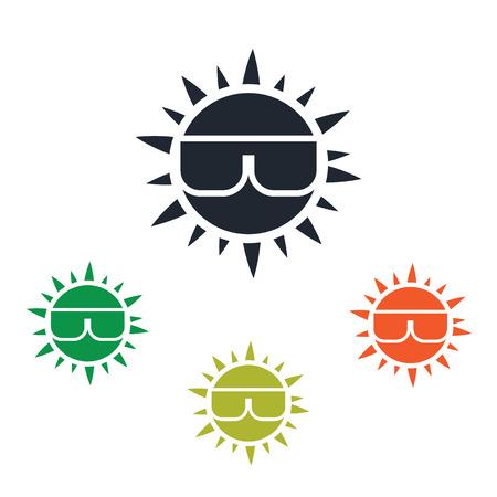 sun glasses: Sun in glasses icon Illustration