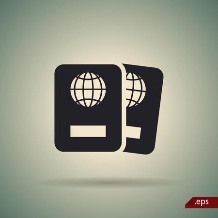 overseas: Two passports icon Illustration