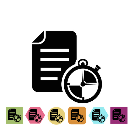 on temporary: Notebook with temporary notes sporting loads icon Illustration