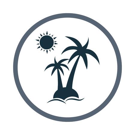overseas: Palm tree on island at the sea icon
