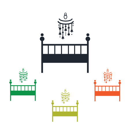 tree silhouettes: Baby bed icon
