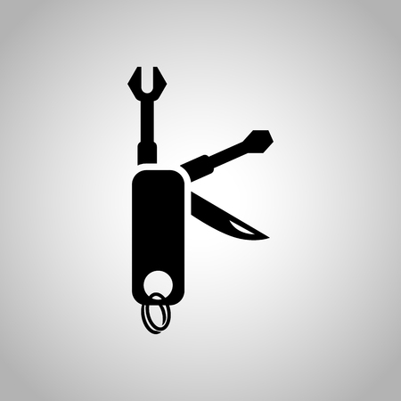 compact: Compact set of construction tools icon Illustration