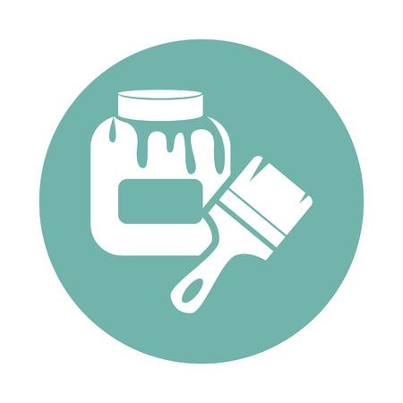 to glue: Botella con el pegamento y el icono del pincel