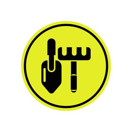 rakes: Rakes and shovel icon Illustration