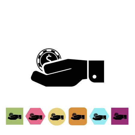 adrenalin: Casino chip in hand icon Illustration