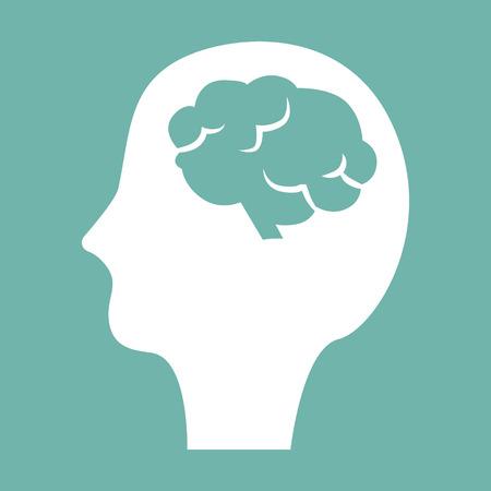 Human head with brain icon