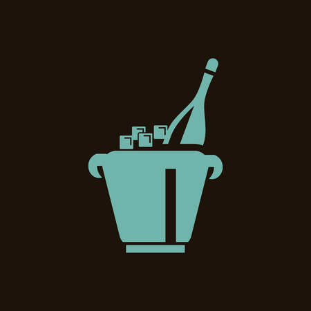 adrenalin: A bottle of champagne in bucket with ice icon Illustration