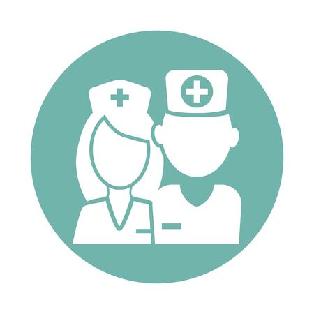 Arts en verpleegkundige pictogram Stock Illustratie