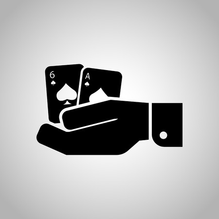 adrenalin: Pair playing cards in hand icon Illustration