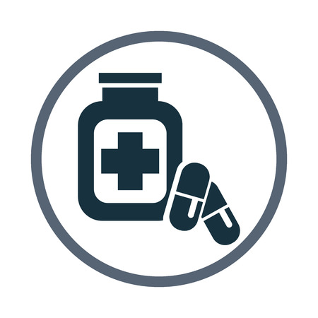 doctor tablet: Bank with tablet icon Illustration