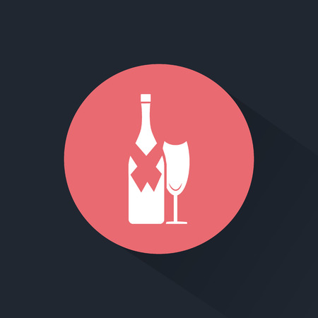 adrenaline: Bottle of wine with glass icon