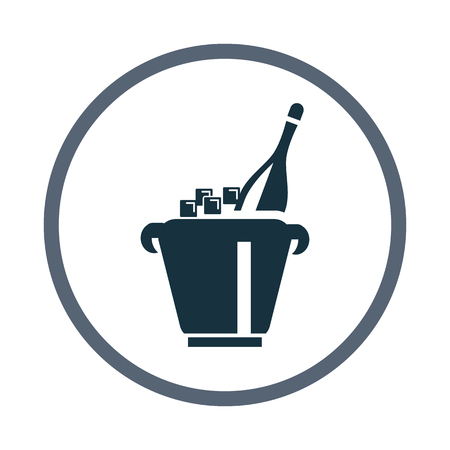 adrenaline: A bottle of champagne in bucket with ice icon Illustration