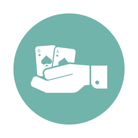 adrenaline: Pair playing cards in hand icon Illustration