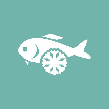frozen fish: Frozen fish icon Illustration