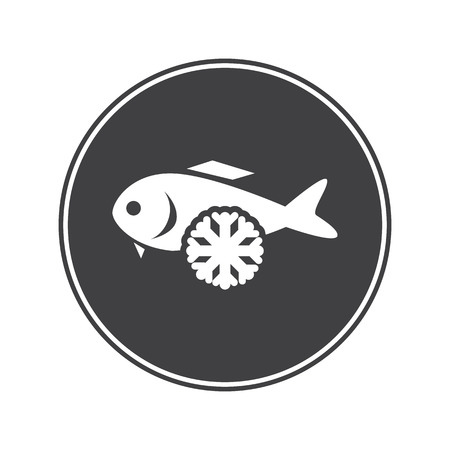 frozen meat: Frozen fish icon Illustration