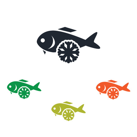 frozen fish: Frozen fish icon Illustration