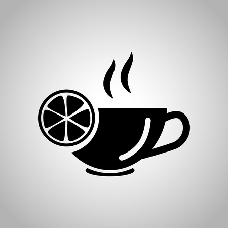 boiling water: Cup of tea with lemon icon