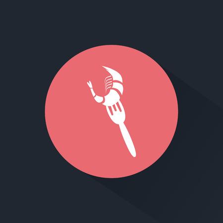 fried shrimp: Shrimp on a fork icon
