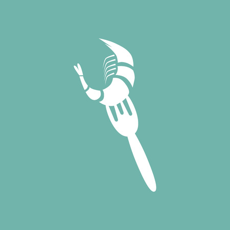 fried shrimp: Shrimp on a fork icon